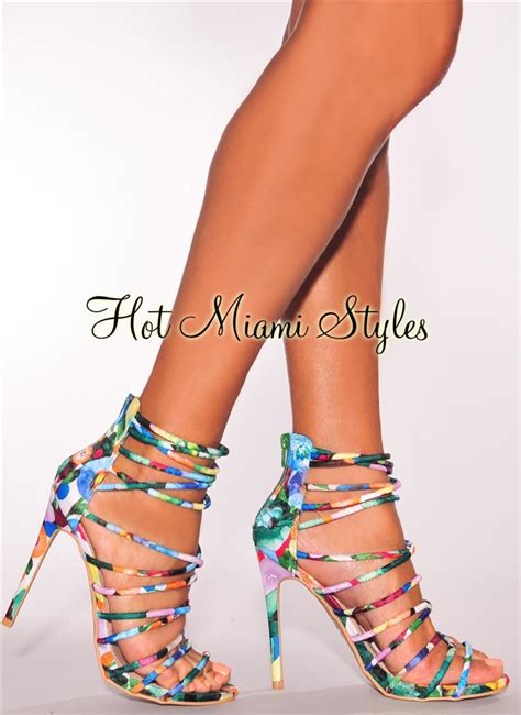 multi color floral print crisscross strappy high heels