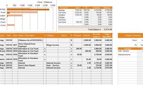 financial account template  excel templates