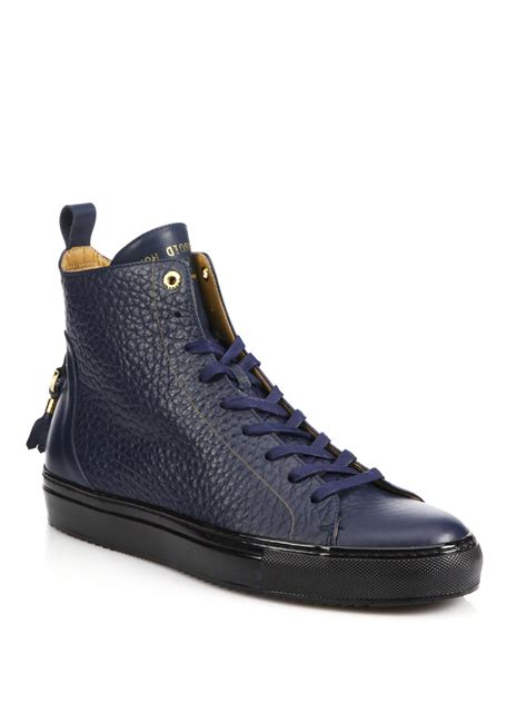 android homme shoes android homme alfa high top leather sneakers in blue for
