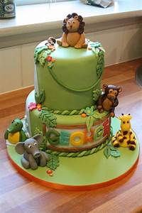 Gateau Anniversaire Animaux : jungle themed 1st birthday cake cameron 39 s first birthday party pinterest birthday cakes ~ Dallasstarsshop.com Idées de Décoration