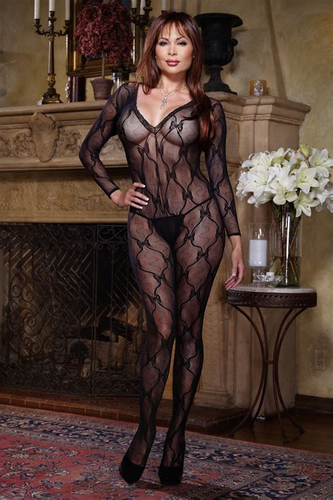 dreamgirl black lace long sleeve open crotch bodystocking