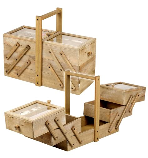 cantilever wooden sewing box