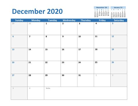 december printable calendar template word excel