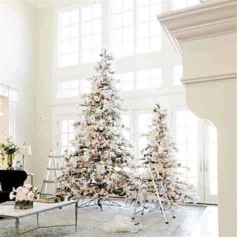 flocked christmas trees ideas  pinterest