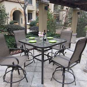 Patio dining sets glass top minimalist pixelmaricom for High top patio table sets