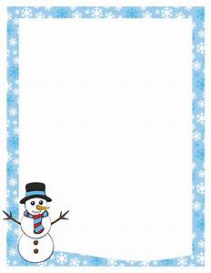 A page border featuring a snowman and a snowflake border ...
