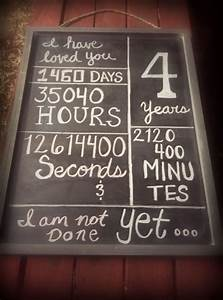 4 year anniversary chalkboard for hubby pinterest With 4th wedding anniversary gifts for him