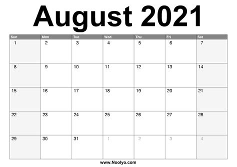 august  calendar printable   noolyocom