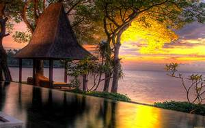 Sunset, Sea, Water, Trees, Romantic, Pictures, Landscapes