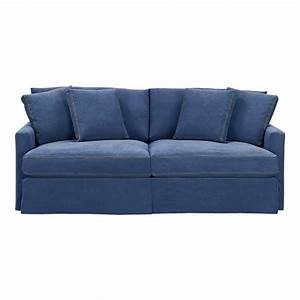 crate barrell denim sofa blue lounge 83quot slipcovered With small sectional sofa denim