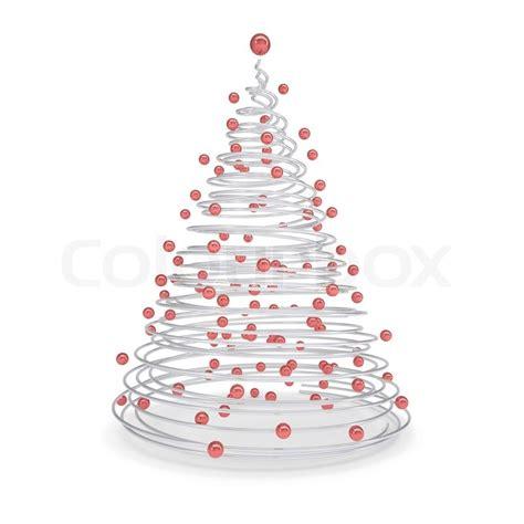 weihnachtsbaum aus aus metall spiralen und roten kugeln