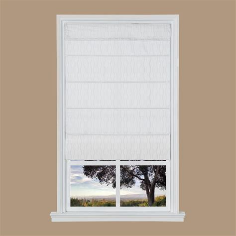 White Jacquard Cordless Fabric Roman Shades  31 In W X