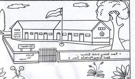 mewarnai gambar sekolah gambar ilustrasi kartun