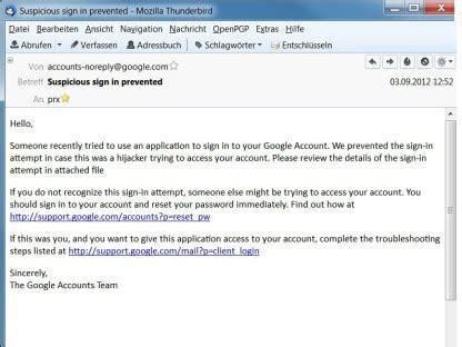 angebliche google  mail verbreitet trojaner