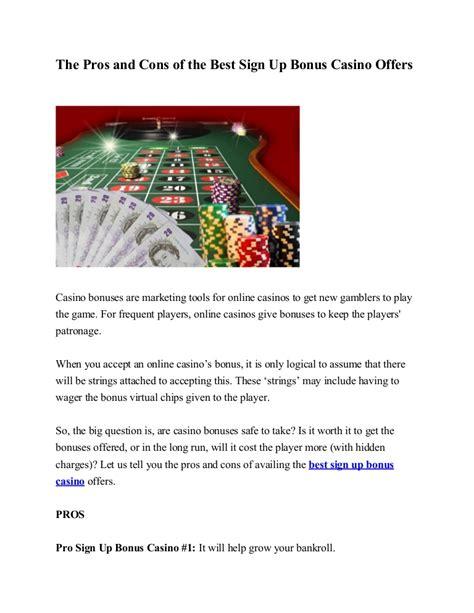 pros  cons    sign  bonus casino offers