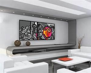 Tableau Salon Design : 17 id e pour une grand tableau design mural du salon ~ Teatrodelosmanantiales.com Idées de Décoration