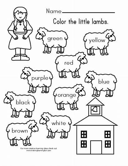 Lamb Mary Had Coloring Preschool Activities Nursery