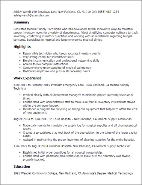 Army Supply Resume Exles by Professional Supply Technician Templates To