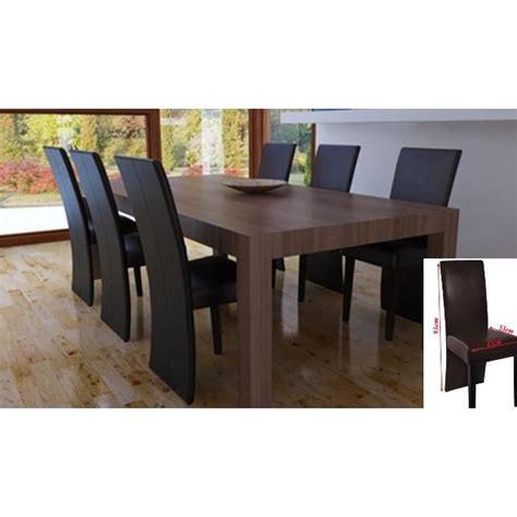 6 chaises de salle 224 manger salon simili cuir marr achat vente chaise cuir poly 233 thyl 232 ne
