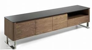 Meuble Bois Et Noir : meuble tv bois plaqu noyer et verre teint noir louna ~ Melissatoandfro.com Idées de Décoration