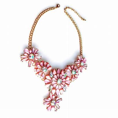 Blush Pink Necklace Floral Stone Aurora Chunky