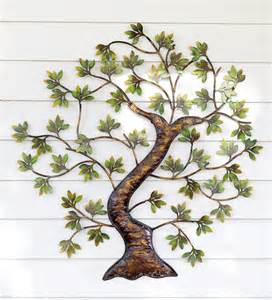 metal twisted tree with green foliage wall art metal