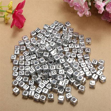 buy pcs mm silver acrylic letter alphabet beads diy