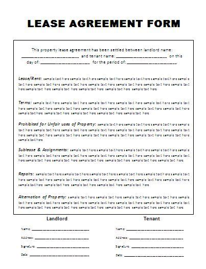 lease agreement template free lease agreement template company documents