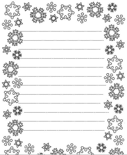 snowflake writing paper older student winter bw writing paper christmas writing paper