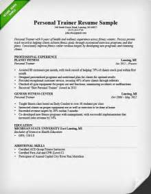 resume objective personal trainer fitness and personal trainer resume exle