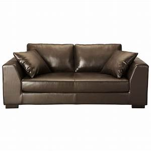 canape cuir 2 3 places convertible marron terence With canapé 2 places convertible cuir
