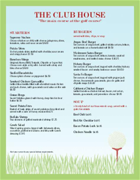 Snack Bar Menu Template by Customize 16 Golf Menu Templates Musthavemenus
