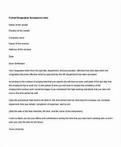 Formal Resignation Letter Example 19 Formal Resignation Letters Free Sample Example