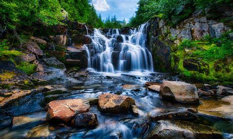 mount rainier national park washington usa landscape waterfall rocks trees hd wallpaper