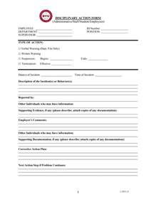 Employee Disciplinary Write Up Form