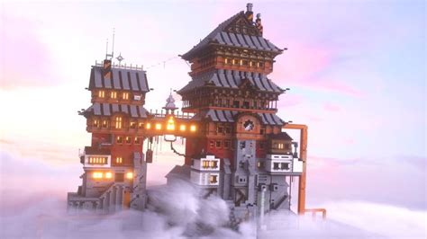 japanese steampunk cloud house   minecraft designs minecraft architecture minecraft