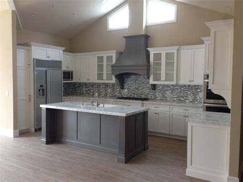white shaker kitchen island with grey ideas