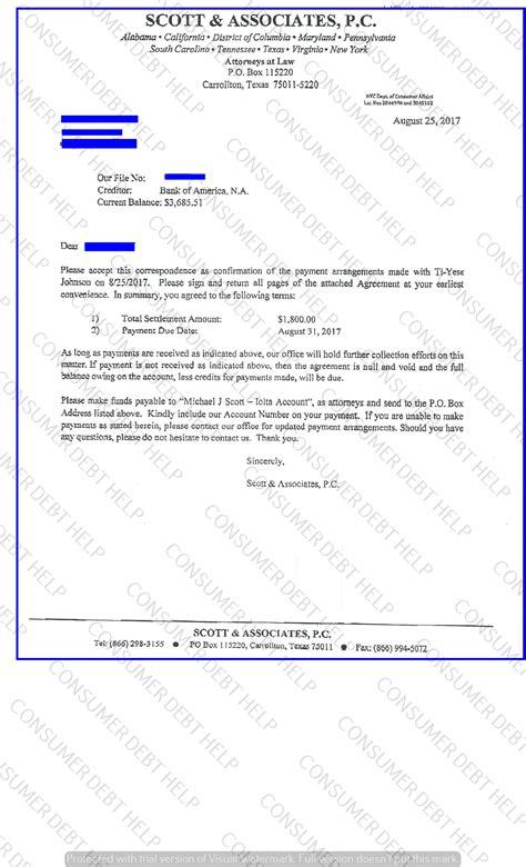 settlement letters  bank  america consumer debt