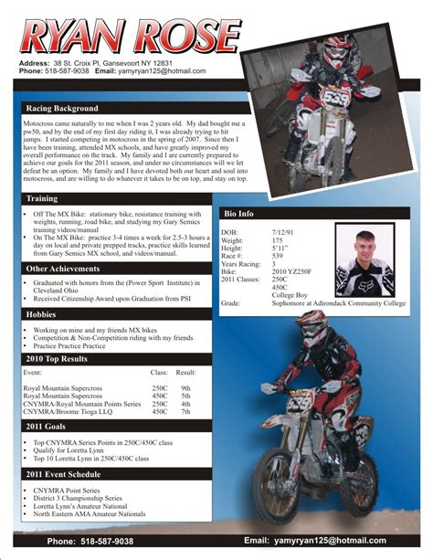 Mx Sponsorship Resume Sle by Racing Apparel Sponsorship Resume The Graphic Details