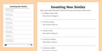 ks2 inventing new similes worksheet activity sheet similes