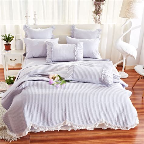 Summer Coverlet by Gray Bedspreads Coverlet With Ruffles Pillowcase