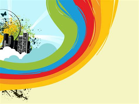 drawn rainbow powerpoint templates pencil   color