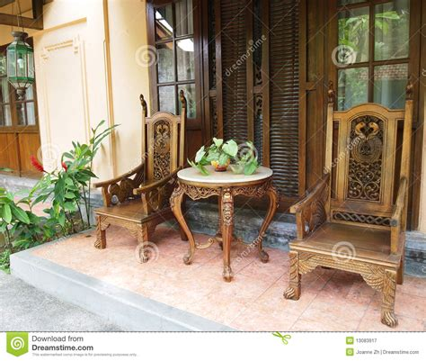 balinese furniture  patio stock image image  bali