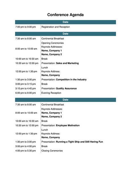 Training Seminar Agenda Template by Conference Agenda