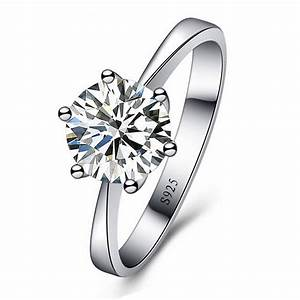 jexxi romantic classic round cubic zirconia 925 sterling With gps wedding ring for sale