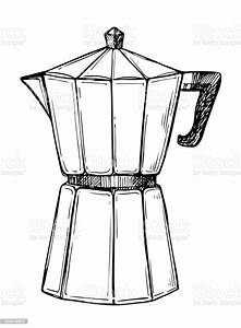 Coffee Maker Freehand Pencil Drawing Stock Illustration