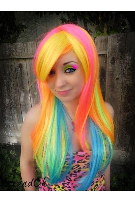 Neon Hair Neon Hair Long Rainbow Bright Hair