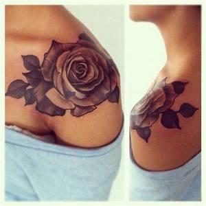 Rose flower shoulder tattoo for girls   Magpie tattoo ...