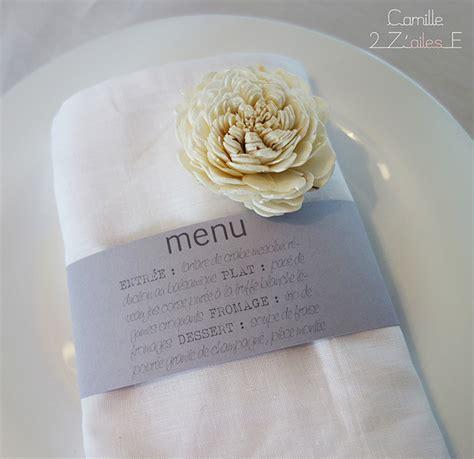pliage serviette porte menu menu bandeau rond de serviette camille 2 z ailes e cr 233 ations de papeterie originale et sur
