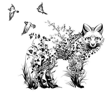 fox mandala zentangle animal etsy